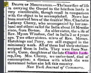 Charlotte Lathrop Cherry Death Notice