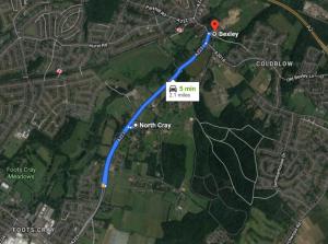 North Cray to Bexley, Google Maps